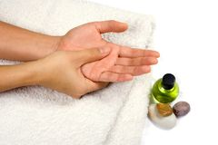 Self hand massage Royalty Free Stock Images