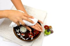 Self hand therapy. Hand cleansing as part of beauty and healthcare setting suitable for self pampering or spa, isolated with copyspace Stock Photos