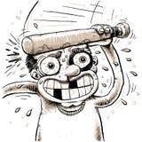 Self Head Bonk. A cartoon man bonks himself in the head with a small, wooden bat Stock Photos