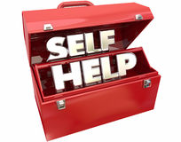 Self Help Improvement Toolbox Resources Advice. 3d Words Stock Photo
