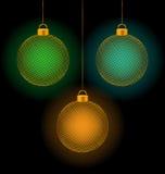 Self-illuminated Christmas balls on black Royalty Free Stock Images