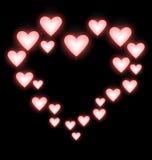 Self-illuminated pink hearts like frame on black Stock Photo