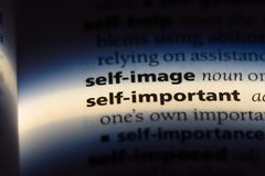 Self important. Word in a dictionary.  concept stock photo