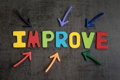Self improvement concept by multiple arrow pointing to colorful. Alphabet IMPROVE at the center on dark black cement wall background Royalty Free Stock Image