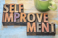 Self improvement in wood type Stock Images