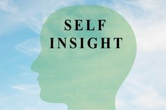 SELF INSIGHT concept. Render illustration of SELF INSIGHT title on head silhouette, with cloudy sky as a background Stock Image