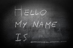 Self Introduction - Hello, My name is ... written on a blackboar. D - concept Royalty Free Stock Images