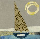 Self Knowledge. Childlike Abstract collage of a little sailboat named the Self Knowledge Royalty Free Stock Photo