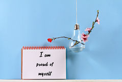 Self love affirmation. I am proud of myself. Inspirational motivating quote on retro paper and coffee . Choice, Grow, Change, Life Stock Photos