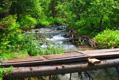 Self-made bridge over mountain river in forest royalty free stock image