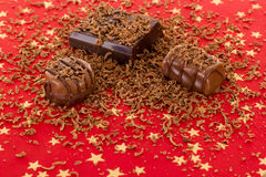 Self-made pralines with grated chocolate. Delicious self-made pralines with grated chocolate Royalty Free Stock Photos