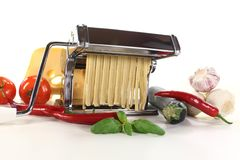 Self-made ribbon noodles with pasta maschine Royalty Free Stock Photo