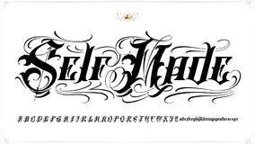 Self Made tattoo lettering. Is famous tattoo old english vector lettering Royalty Free Stock Photography
