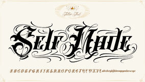 Self Made tattoo lettering set. Is famous tattoo old english vector lettering Stock Images