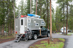 Self-made truck camper, Yellowstone National Park, WY, USA Royalty Free Stock Photography