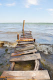 Self-made wooden pontoon Royalty Free Stock Photo