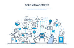 Self management concept. Control, personal growth, emotional intelligence, leadership skills. Self management concept. Control, improvement, development royalty free illustration