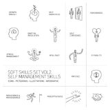 Self management soft skills  linear icons Royalty Free Stock Images