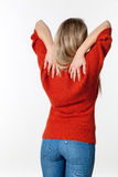 Self-massage for backache, lumbago, scoliosis health problems Stock Images