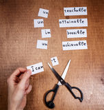 Self motivation concept. Negative words cut with scissors. Royalty Free Stock Image