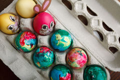 Self Painted Easter Eggs Royalty Free Stock Photos