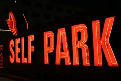 Self park neon lights Royalty Free Stock Image