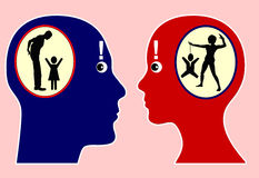 Self Perception. Man and woman with discrepancy between self awareness and external perception, how we see and describe ourselves and how others see and would Royalty Free Stock Photography