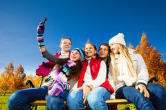 Self photograph of teen kids Royalty Free Stock Photo