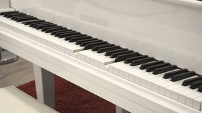 Self-Playing White Piano Without Pianist. Playing Piano Itself. Close Up Side Angle View.  stock video
