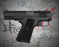 Self-pointing gun. Impossible gun pointing at shooter with a grunge graffiti wall background. This image contains a clipping path for exact isolation from the Royalty Free Stock Image