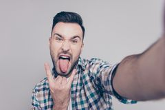 Self portrait of attractive, crazy man with bristle, stubble, s stock images