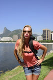Self-portrait of blond young backpacker at Rio de Janeiro. Royalty Free Stock Image