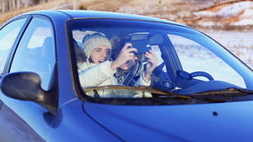 Self-portrait in the Car stock footage
