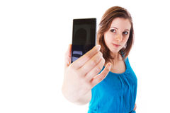 Self portrait with cell phone Stock Images