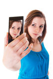 Self portrait with cell phone Royalty Free Stock Photos