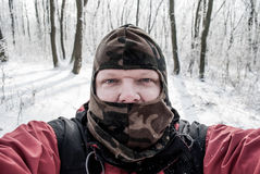 Self portrait in cold forest Stock Photography