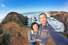 Self-portrait of the family for a walk along the shores of Portugal. Stock Photo