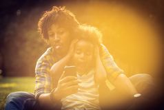 Self portrait of father and daughter. stock images