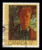 Self Portrait by Frederick H. Varley, canadian artist. CANADA - CIRCA 1981: A stamp printed in Canada shows `Self Portrait` by Frederick H. Varley, was a member royalty free stock image