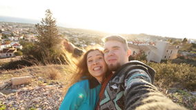 Self portrait, happy couple traveling. Close up self portrait, happy hipster couple traveling stock video footage
