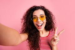Self-portrait of her she nice-looking lovely sweet adorable attractive charming girlish cheerful cheery glad wavy-haired royalty free stock photo