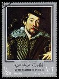 Self-portrait with Isabella Brant detail, paintings by Rubens. Yemen - CIRCA 1968: stamp printed in Yemen Arab Republic, shows self-portrait with Isabella Brant royalty free stock photo