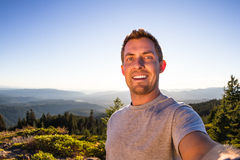 Self portrait from a mountain top royalty free stock photography