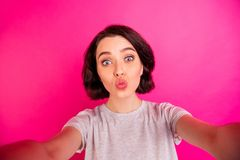 Free Self Portrait Of Pretty Cute Charming Fascinating Girlfriend Kissing You Through Air While Recording Video Taking Selfie Royalty Free Stock Photography - 160017597