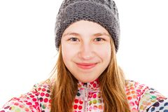 Smiling young girl. Self portrait photo of cute smiling young girl Royalty Free Stock Photography