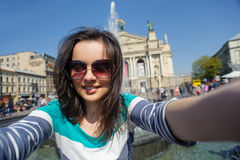 Self-portrait of a young girl in glasses. In Lviv, Ukraine Royalty Free Stock Photo