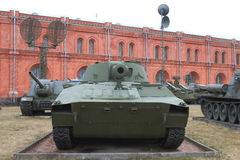 Self-propelled guns on the territory of museum in cloudy weather stock images