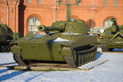 Self-propelled artillery unit 2S1 `Carnation`. January sunny day. Saint Petersburg Royalty Free Stock Image