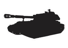 Self-propelled artillery vector. Russian self-propelled artillery `acacia` vector silhouette Stock Image