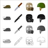 Self-propelled gun, combat knife, military gas mask, army helmet. Military and army set collection icons in cartoon. Black monochrome outline style vector Royalty Free Stock Photography